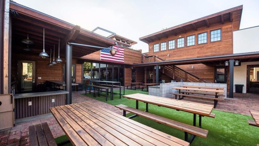 The main courtyard at Park 101, a two-story multi-use project with four eateries in Carlsbad Village. It opened in early July.
