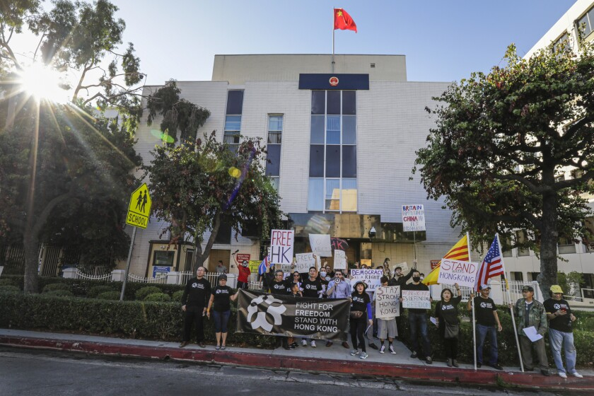 Protesters rally at the Chinese Consulate in Los Angeles in support of Hong Kong demonstrators