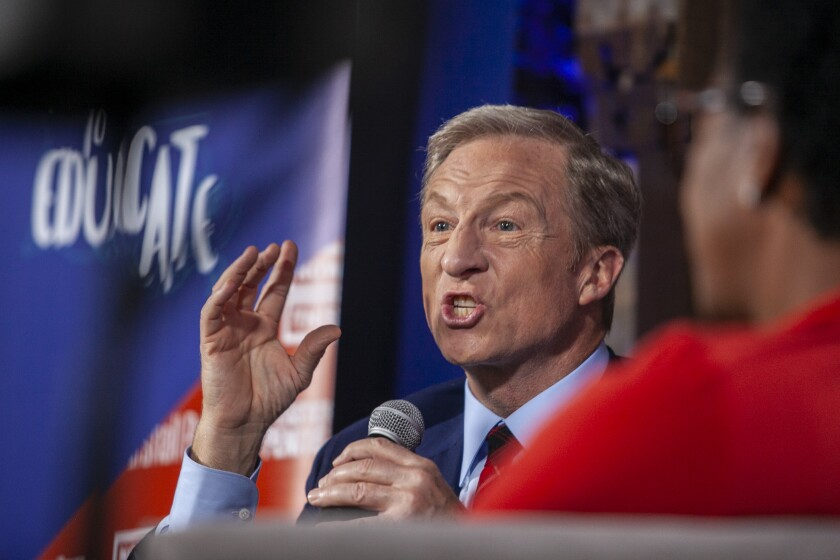 2020 presidential candidate Tom Steyer, participated in a forum by formerly incarcerated leaders at historic Eastern State Penitentiary in Philadelphia, Pa., on Monday, Oct. 28, 2019 (Miguel Martinez/The Philadelphia Inquirer via AP)