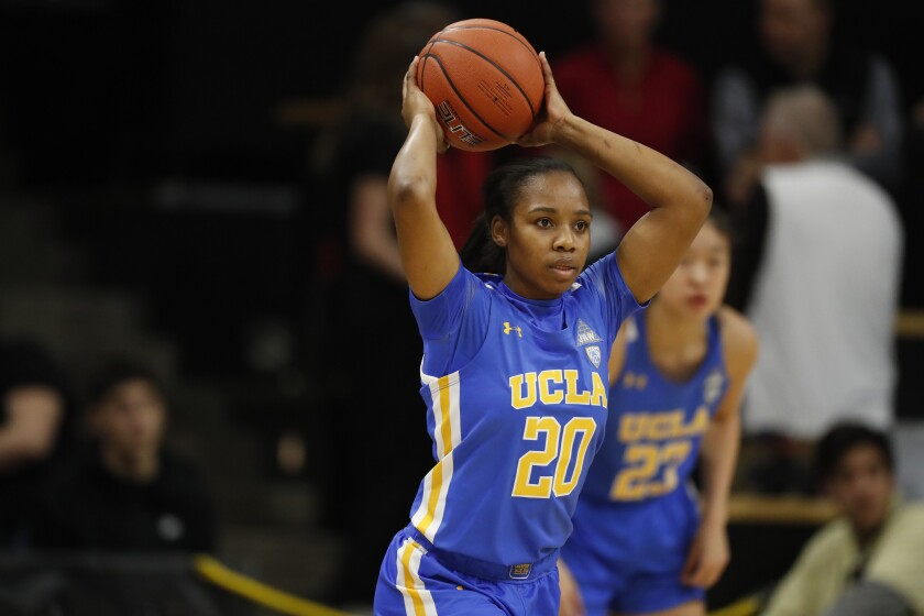 UCLA's Charisma Osborne makes a pass during a game against Colorado on Jan. 12, 2020.