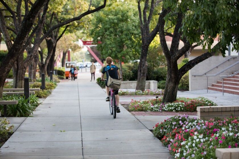 A student bikes on a pathway at Biola University.