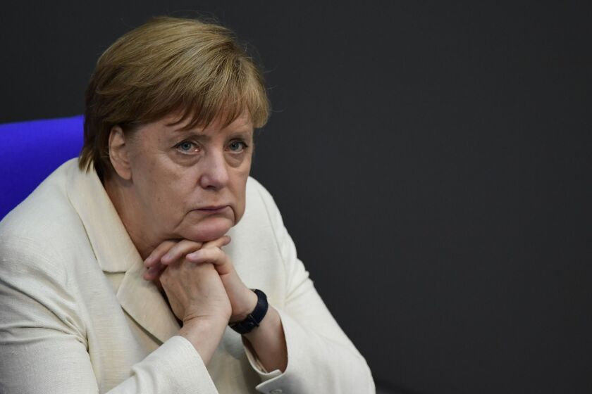 """German Chancellor Angela Merkel at a special session of the German parliament on """"Brexit"""" in Berlin."""