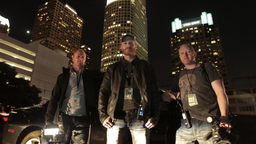 "Austin, left, Howard and Marc Raishbrook make a living chasing grisly footage at night. But they are known as news ""stringers,"" not nightcrawlers."
