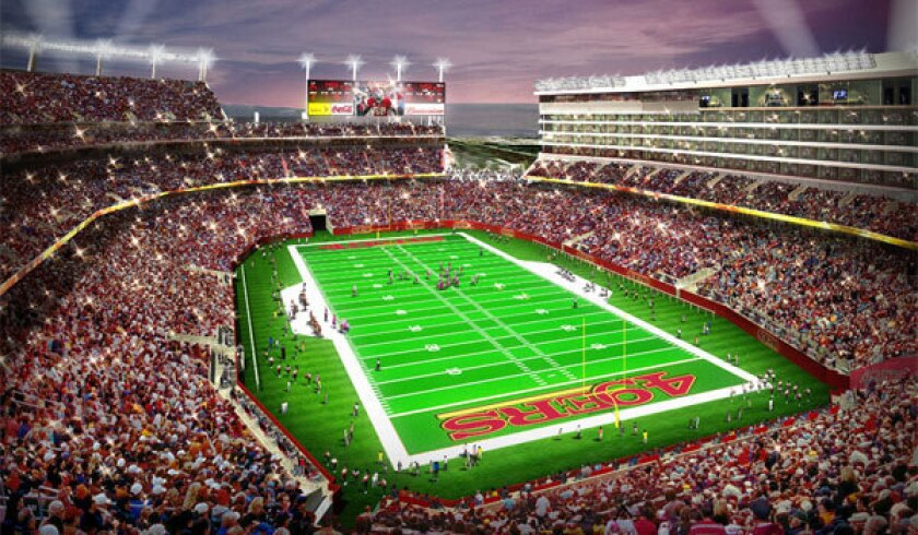 Super Bowl L will be held in the San Francisco 49ers' new Santa Clara home, shown in an artist's drawing. The stadium will open in 2014.