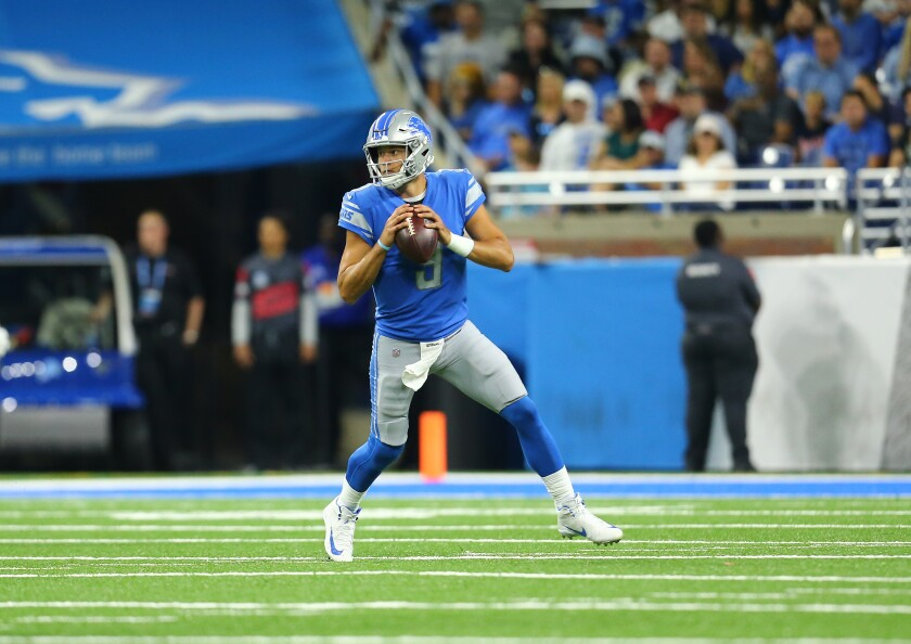 Detroit Lions quarterback Matthew Stafford looks to pass against the Buffalo Bills on Aug. 23, 2019.