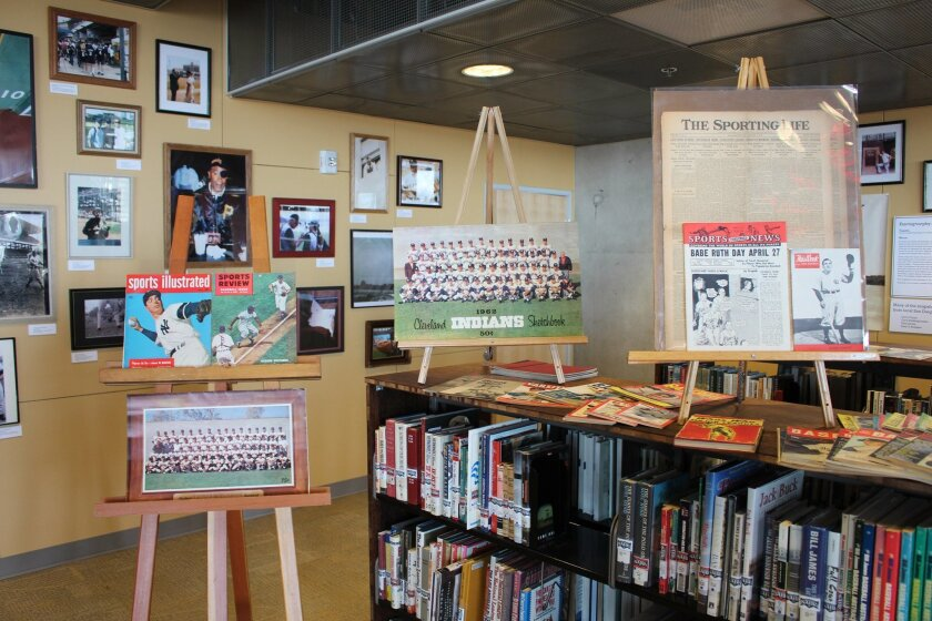 A portion of the William J. Weiss Collection of baseball material at the Central Library.