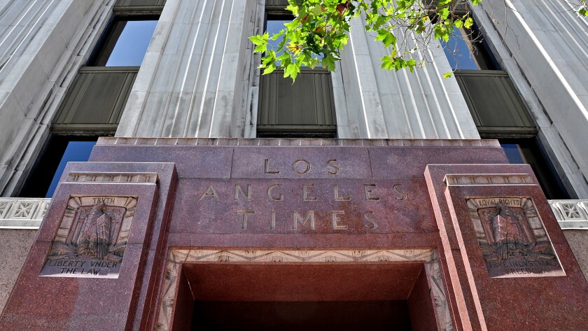 The W. 2nd St. entrance to the Los Angeles Times building in downtown L.A.