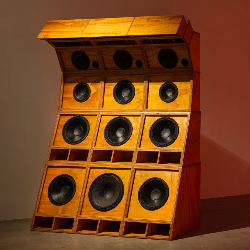 Cosmo Whyte's Sole Imperial, 2019, Plywood, 12 Speakers, 3 Horns, 15 Tweeters.