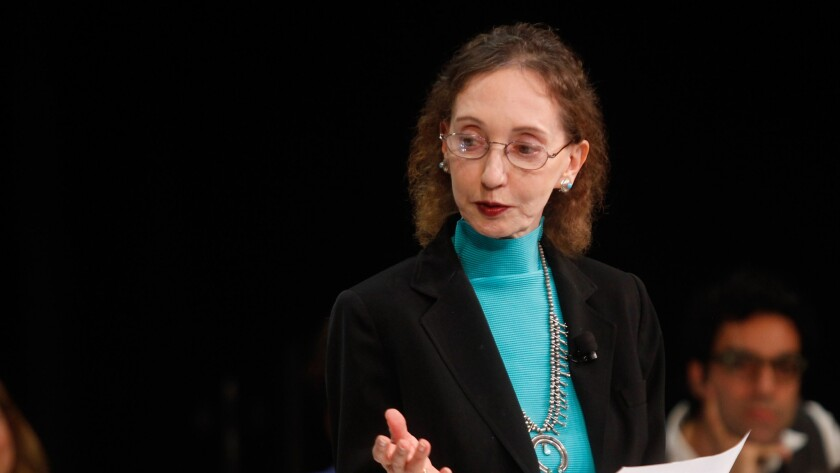 Author Joyce Carol Oates, shown at the New Yorker Festival earlier this month, has been making waves on Twitter.