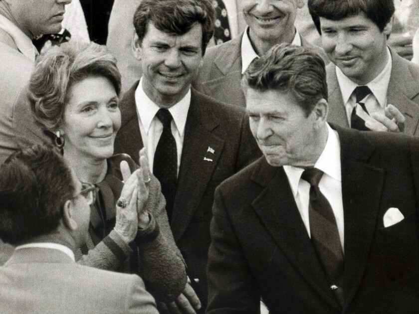 Ronald Reagan and his wife, Nancy, visited San Diego on the eve of the primary election, June 2, 1980. As California governor, Reagan signed CEQA into law.