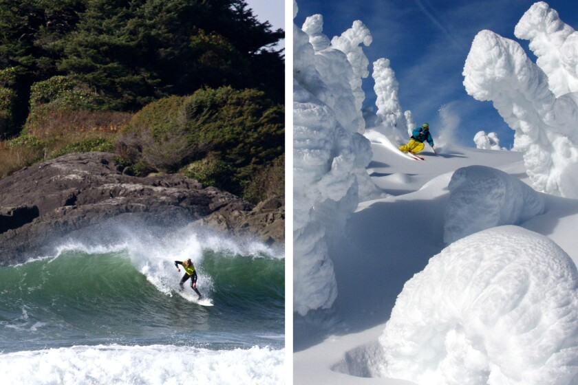 Vancouver Island two-fer: You can catch a wave in the morning off Tofino, right. In the afternoon, hit the slopes at Mt. Washington Alpine Resort.