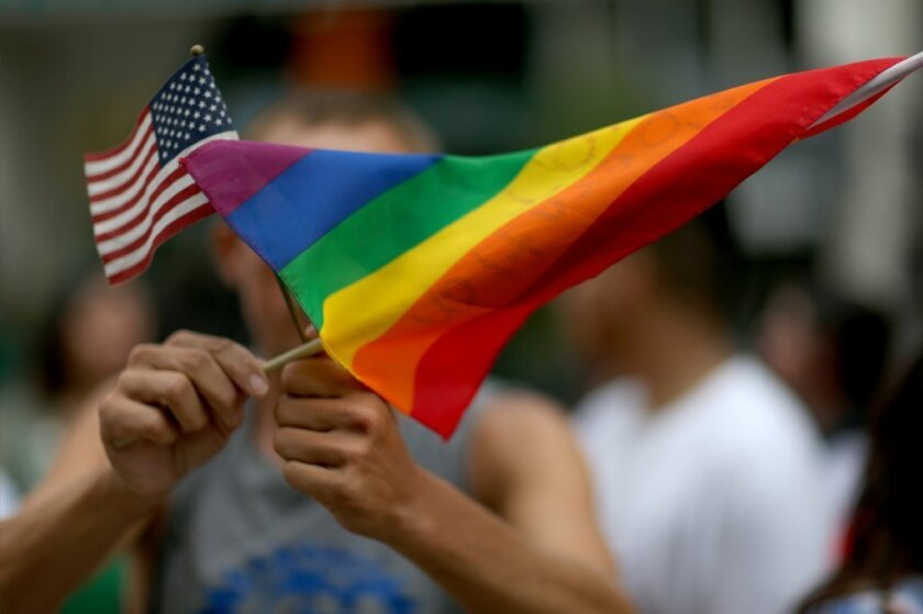 A protester holds the LGBTQ flag in front of Florida's Miami-Dade Courthouse