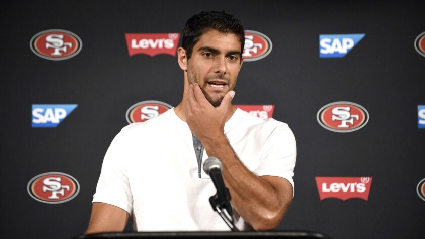 San Francisco 49ers quarterback Jimmy Garoppolo speaks during a news conference after a preseason NF