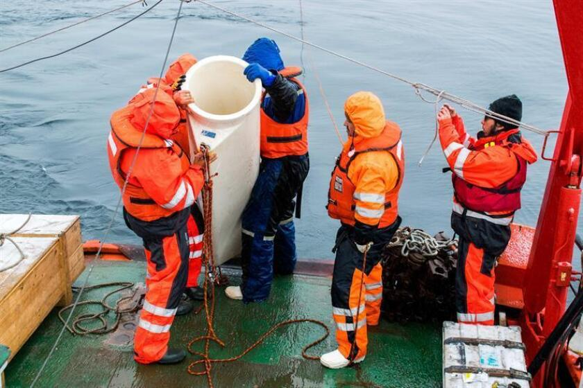 Photo provided by Paulina Moller showing Chilean and Spanish scientists preparing to set a sediment trap 200 meters under water off the Antarctic Peninsula to study the carbon cycle on March 15, 2019. EFE-EPA/Paulina Moeller/Editorial Use Only