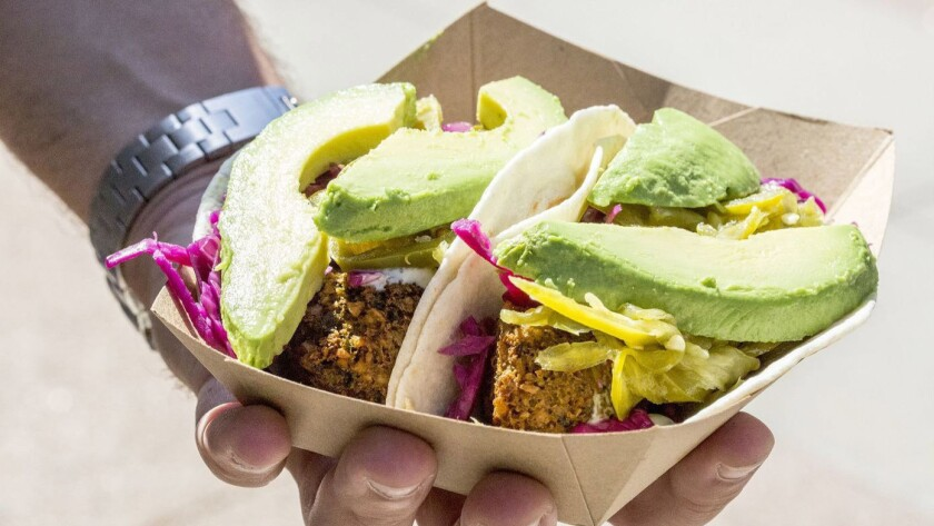 Falafel taco from Falasophy, a new Lebanese restaurant at the Irvine Spectrum. Credit: 100 Eats
