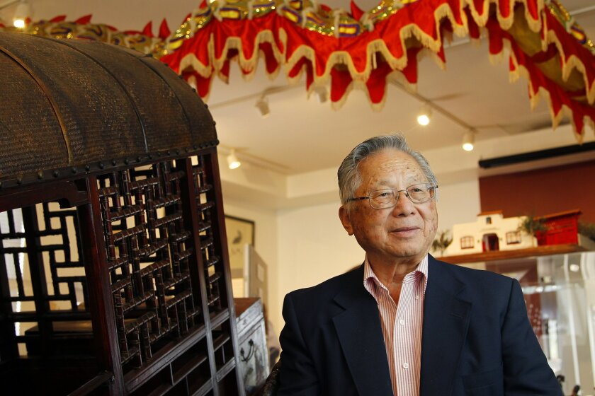 """Tom Hom, longtime local Chinese-American leader who has a new memoir out, """"Rabbit on a Bumpy Road."""" Hom is shown here at the Chinese Historical Museum."""
