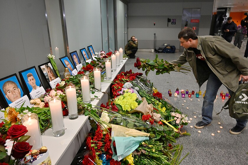 A memorial for crash victims at the airport in Kyiv, Ukraine.