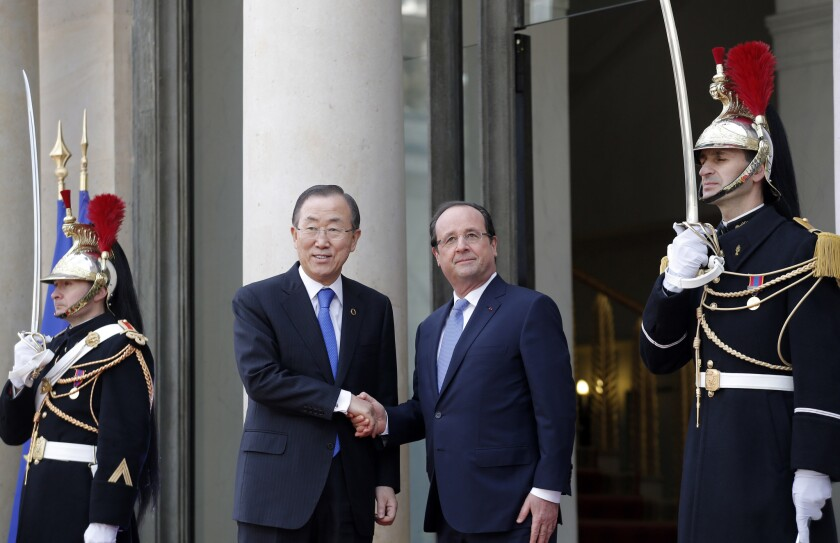 Ban Ki-moon and Francois Hollande