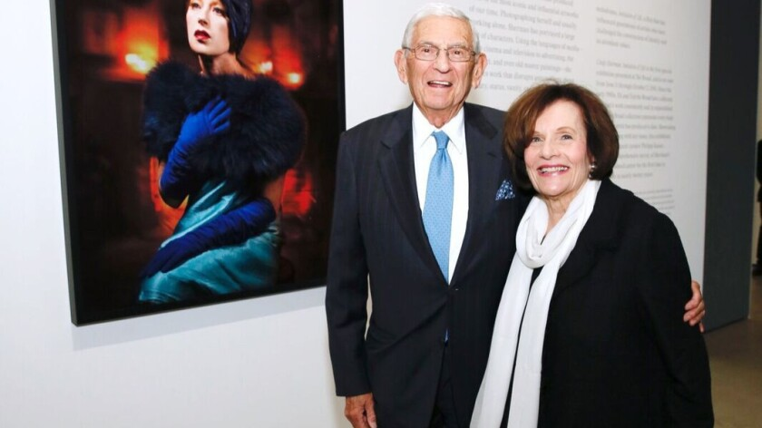 Eli and Edythe Broad attend a preview night at the Broad museum in Los Angeles for the new exhibit of artist Cindy Sherman's work.