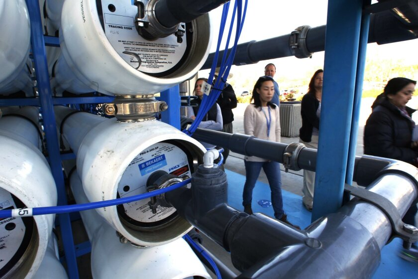 Pure Water is San Diego's envisioned water-recycling program that would eventually provide a third of the city's total supply of drinkable water. In this photo on Nov. 17, 2015, people tour the program's pilot-project site.