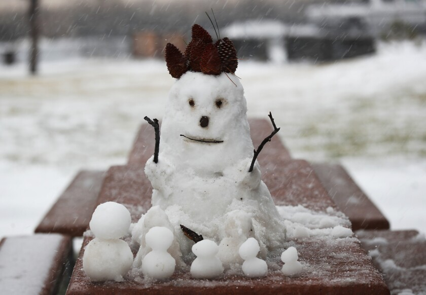 A snowman sits on on a table at Pine Valley County Park on Monday, Jan. 25, 2021 in Pine Valley, CA.