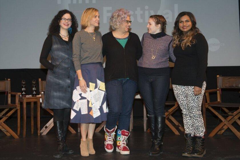 "Emily Nussbaum, left, Kristen Wiig, Jenji Kohan, Lena Dunham and Mindy Kaling attend the ""Power Of Stories: Serious Ladies"" panel during the Sundance Film Festival."