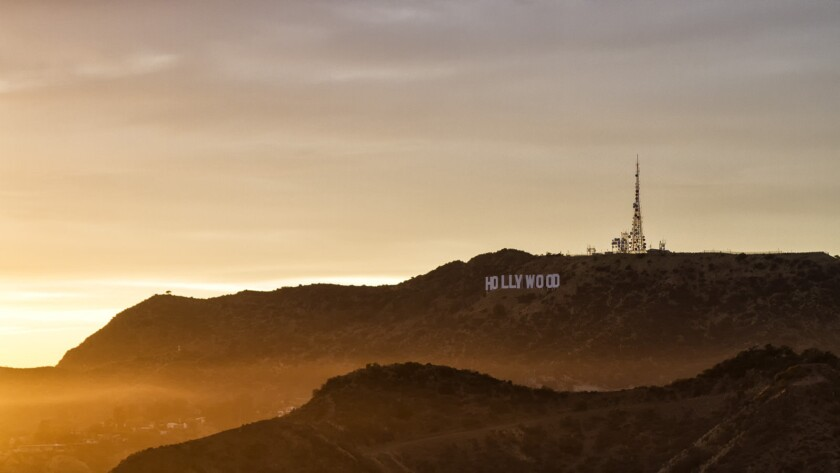 The Hollywood sign at sunset, as seen from Griffith Observatory.