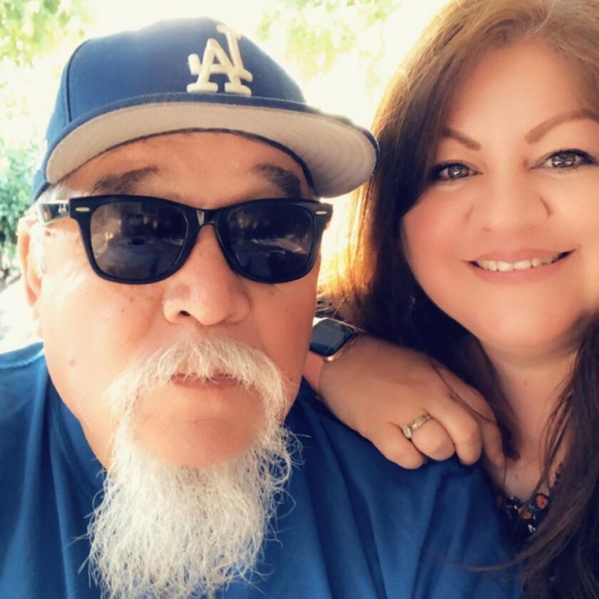 """Paul Martinez with daughter Inez Griego. She says her father once shared an elevator with broadcasting legend Vin Scully """"but never got the nerve to talk to him""""."""