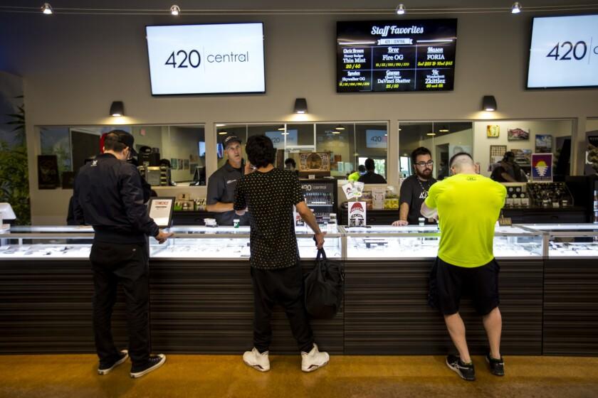 Shoppers at a marijuana dispensary