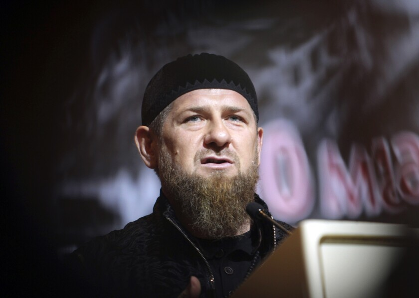 "FILE - In this Friday, May 10, 2019 file photo, Chechnya's regional leader Ramzan Kadyrov speaks during a meeting in Grozny, Russia. Ramzan Kadyrov claimed on his blog Thursday, July 9, 2020 that the ethnic Chechen who was shot dead in a Vienna suburb over the weekend fell victim to ""special services working against Russia and myself."" He rejected the allegations of his involvement in the killing, saying that the killing in Vienna and earlier slayings of ethnic Chechens in Europe were performed by foreign secret agents to compromise him and tarnish Russia's image. (AP Photo/Musa Sadulayev, file)"
