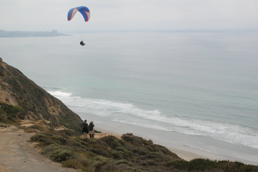 A common sight at Torrey Pines City Park is aerial enthusiasts drifting overhead thanks to an adjacent gliderport.
