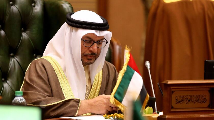 United Arab Emirates official Anwar Gargash attends a meeting of the Gulf Cooperation Council in Kuwait.