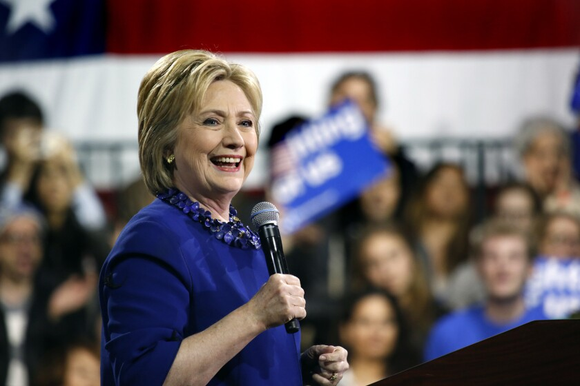 Democratic presidential candidate Hillary Clinton holds a rally at Javits Convention Center in New York City on Wednesday.
