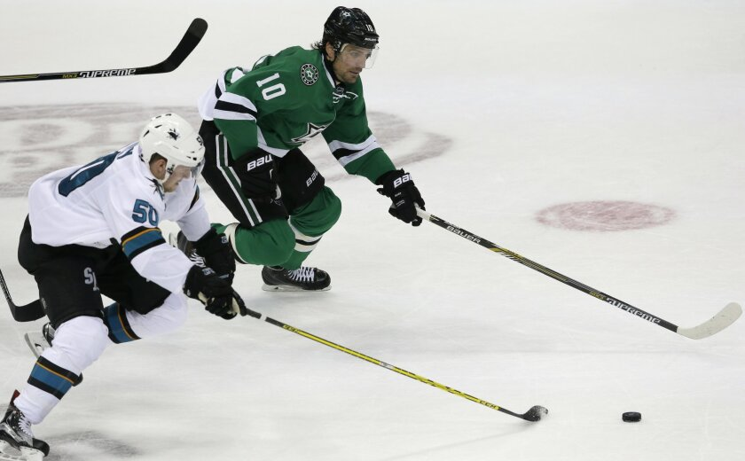 Dallas Stars left wing Patrick Sharp (10) and San Jose Sharks center Chris Tierney (50) chase the puck during the third period of an NHL hockey game Saturday, Oct. 31, 2015, in Dallas. The Stars won 5-3. (AP Photo/LM Otero)