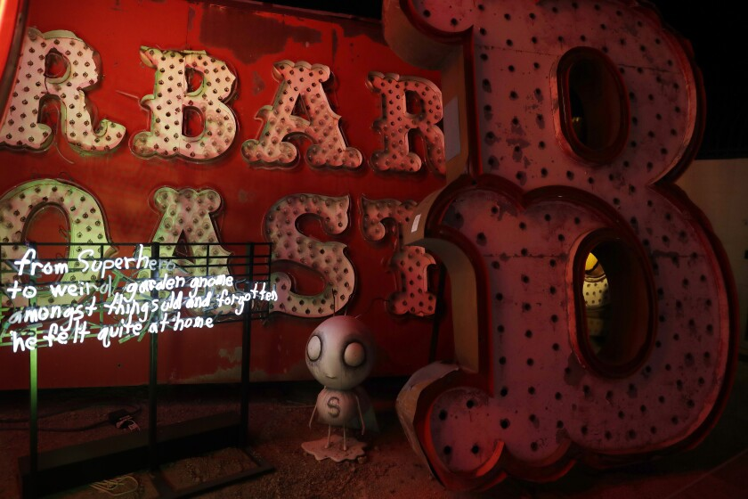 """Stain Boy"" and ""Stain Boy Poem"" are part of Tim Burton's exhibit ""Lost Vegas"" at the Neon Museum in Las Vegas."