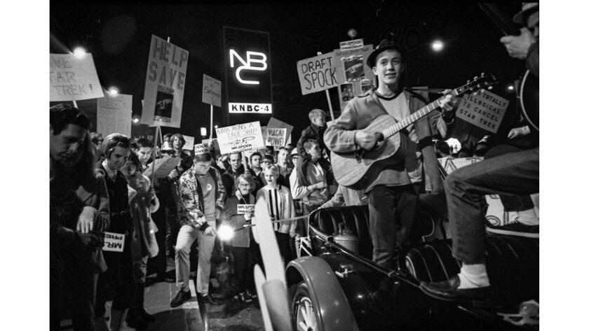 """Jan. 6, 1968: Caltech students protest the rumored cancellation of the """"Star Trek"""" TV series outside NBC Studios in Burbank."""