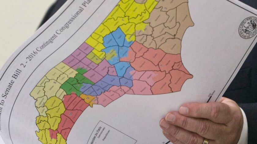 A newly printed map of North Carolina after redistricting, in Raleigh, N.C. on Feb. 16, 2016.