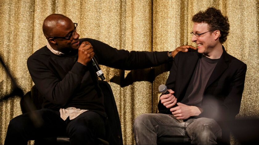 """Director Barry Jenkins, left, and composer Nicholas Britell in a Q&A; after the screening of """"Moonlight."""""""