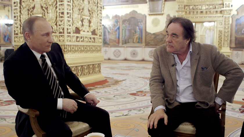 """Russian President Vladimir Putin and Oliver Stone in the Showtime documentary """"The Putin Interviews."""""""