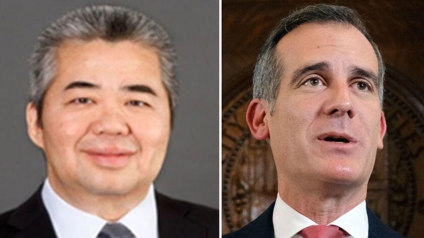 Former Deputy Mayor Raymond Chan, left, and Los Angeles Mayor Eric Garcetti.