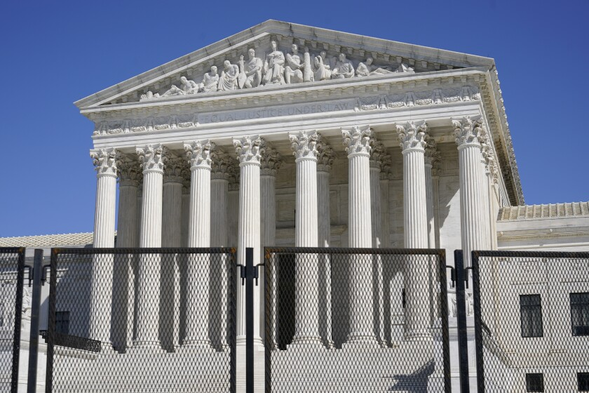 Security fencing surrounded the Supreme Court building on Capitol Hill in Washington in March.