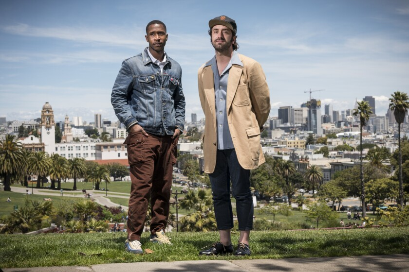 San Francisco, CA May 22, 2019 Jimmie Fails, left, and Joe Talbot, right pose for a portrait in Dolo