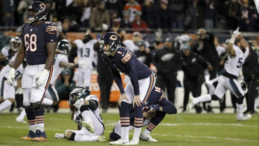 Chicago Bears kicker Cody Parkey (1) reacts after missing a field-goal attempt in the final seconds against the Philadelphia Eagles.