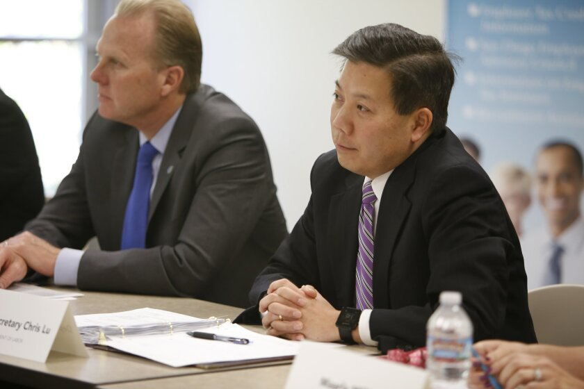 Chris Lu, U.S. deputy secretary of labor, participates in a roundtable discussion about veterans employment on March 21 at the South Metro Career Center in San Diego. / photo by Alejandro Tamayo * U-T