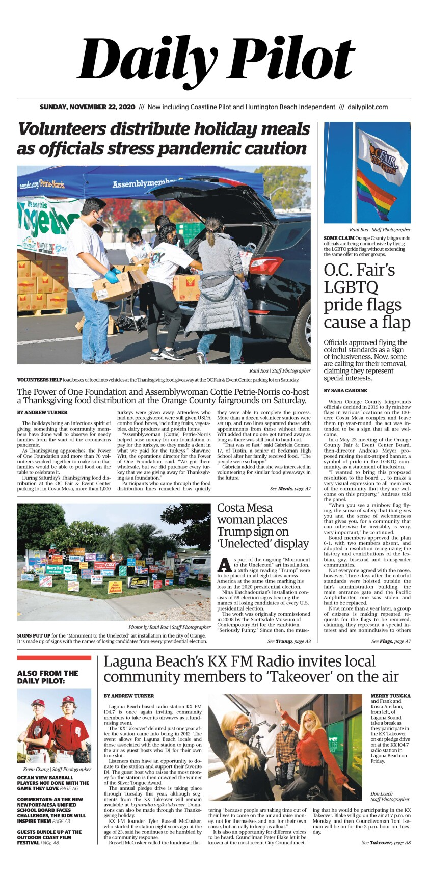 Sunday's Daily Pilot cover.