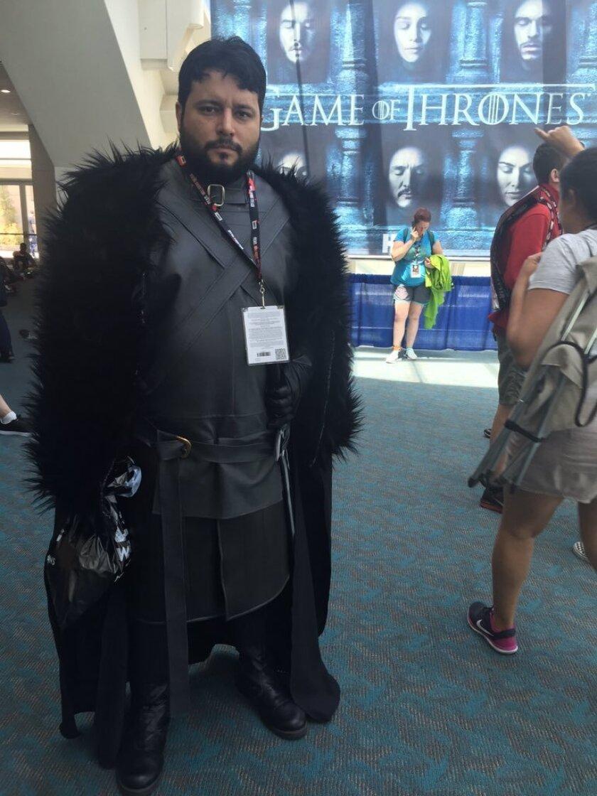Comic-Con cosplayer Eduardo Ochoa, 33, traveled from Monterrey, Mexico, to show off his Jon Snow outfit.