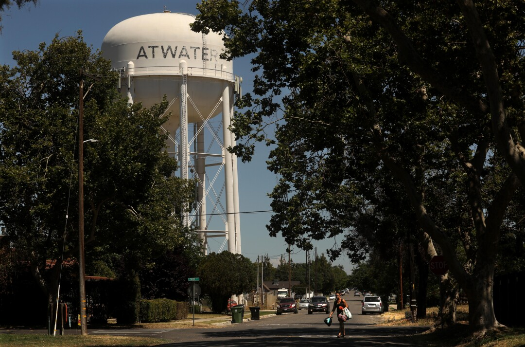 The Atwater water tower anchors the historic downtown of Atwater