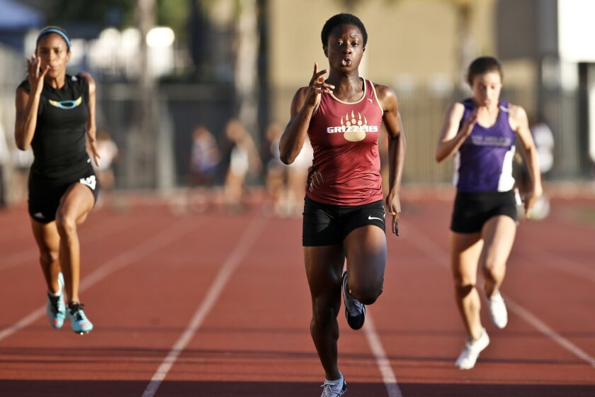 Mission Hills sprinter Suzie Acolatse has the top times in the San Diego Section this spring in the 100 meters and 200 meters.