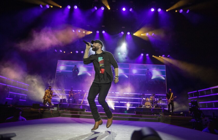 INDIO, CALIF. -- SATURDAY, APRIL 27, 2019: Saturday?s headliner Sam Hunt performs on the Mane Stage