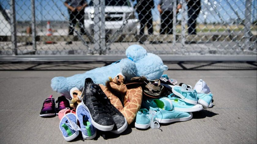 Shoes and toys left by migrants at the Tornillo Port of Entry in Tornillo, Texas.